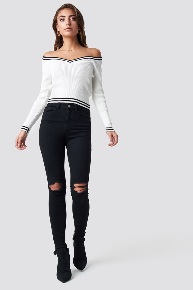 Off Shoulder Knitted Stripe Sweater White/Black