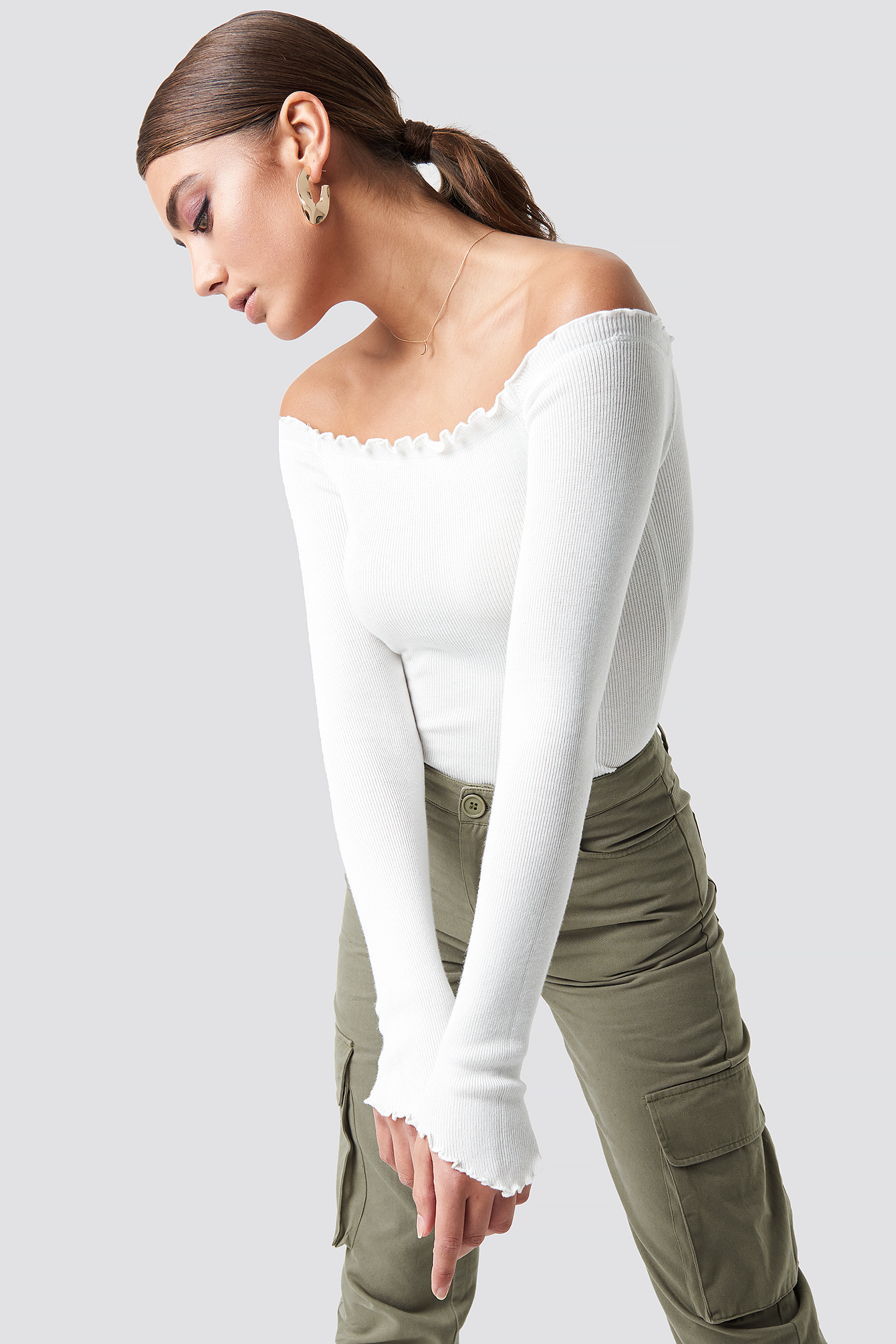 pamela x na-kd -  Off Shoulder Light Knit Top - White