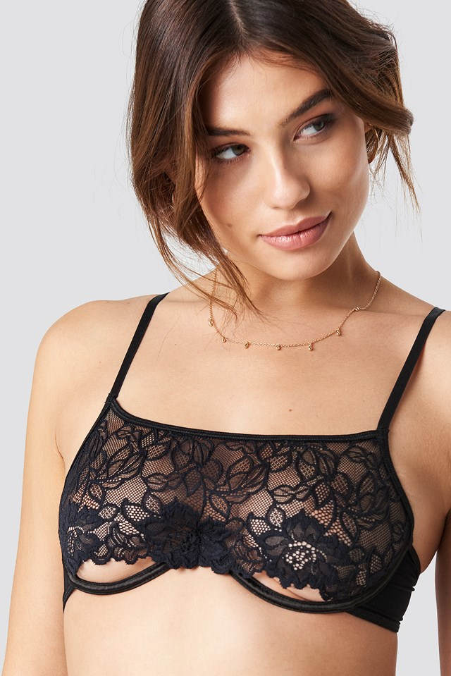 Open Bottom Lace Bra Black