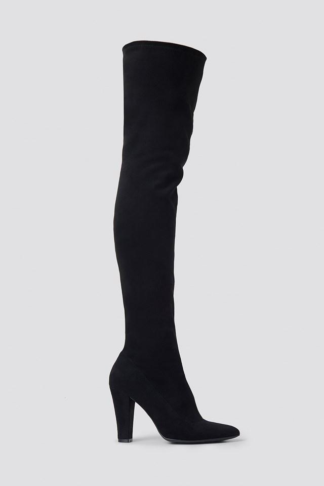 Overknee Faux Suede Boots Black