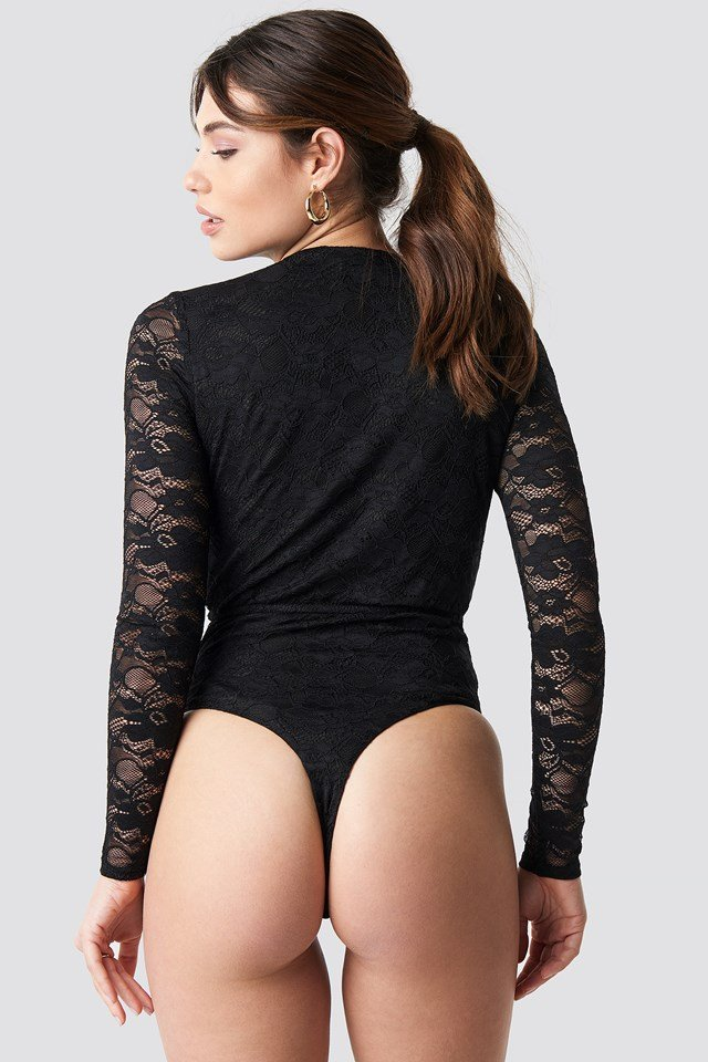 Overlapped Lace Body Black