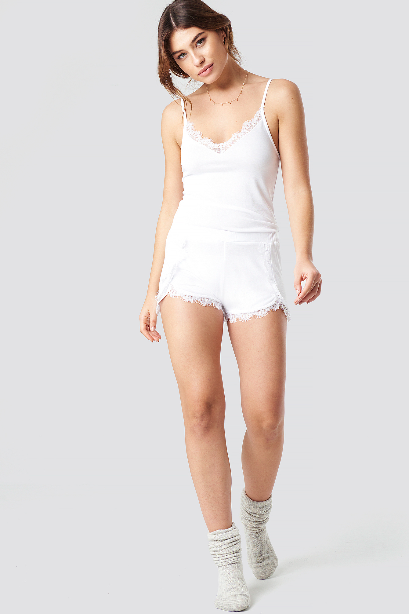 Overlapped Lace Detailed Shorts NA-KD.COM