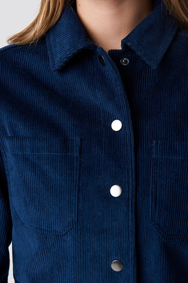Oversized Short Corduroy Jacket Navy