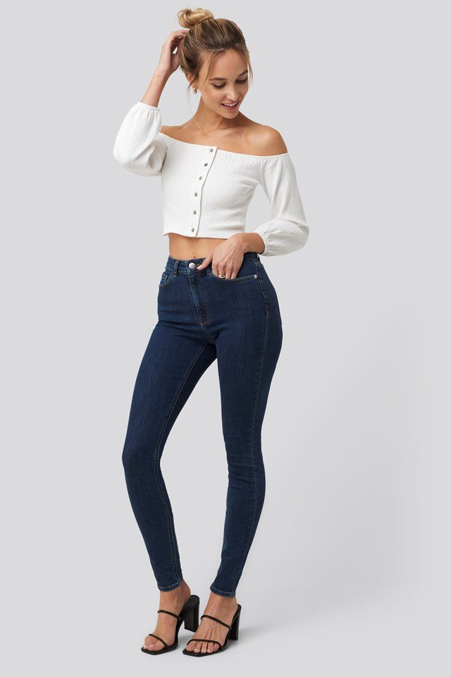 Puff Sleeve Button Up Crop Top Off White
