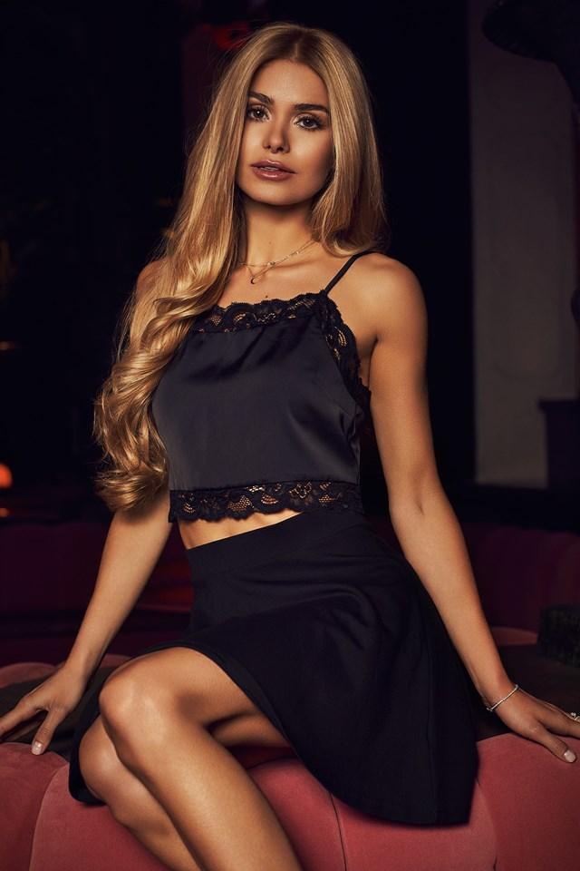 Cropped Lace Singlet Black