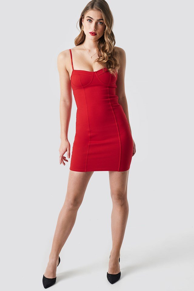 Tight Short Cup Dress Red