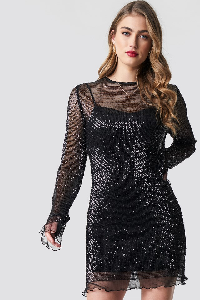 LS Sequin Transparence Dress Black