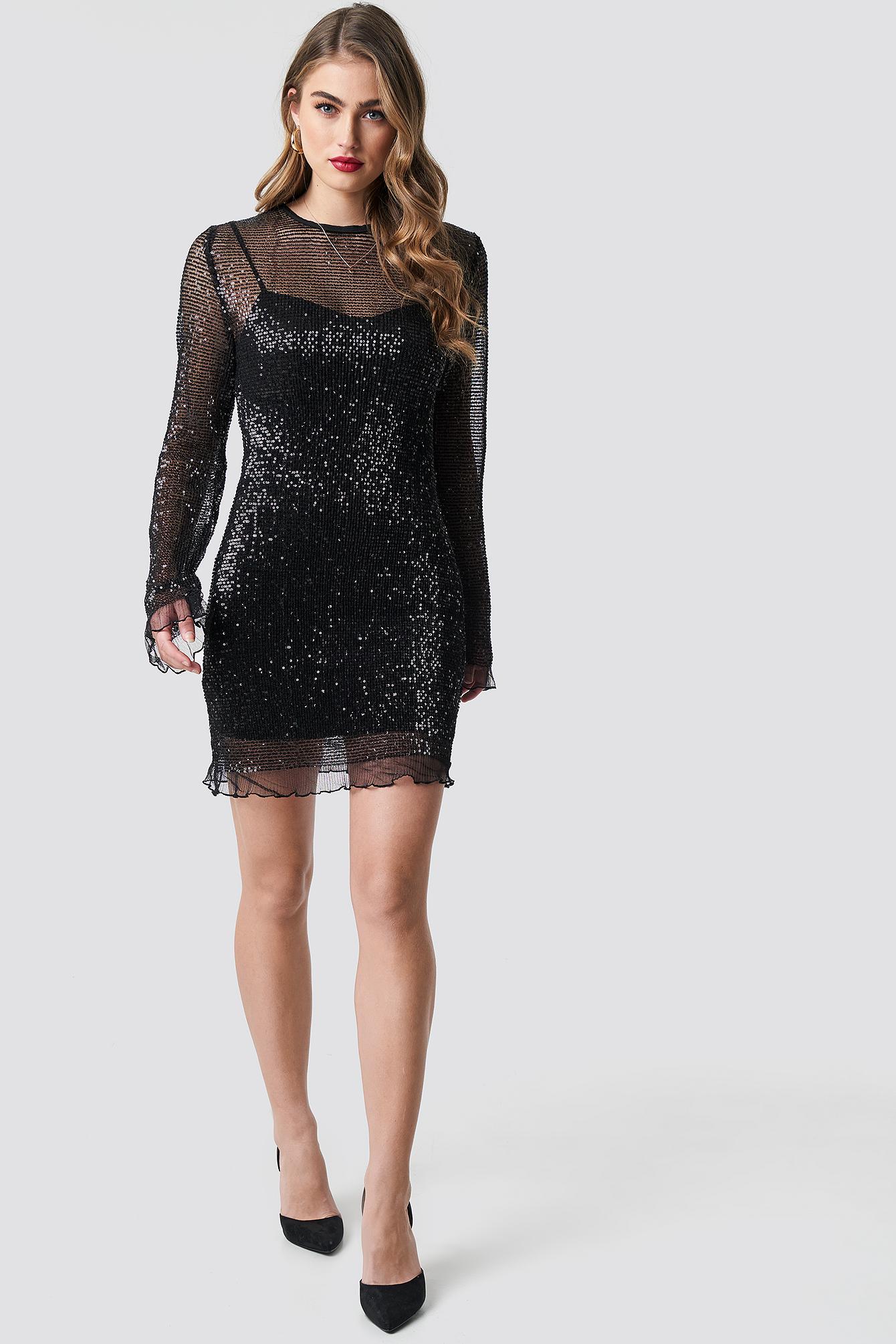 LS Sequin Transparence Dress NA-KD.COM