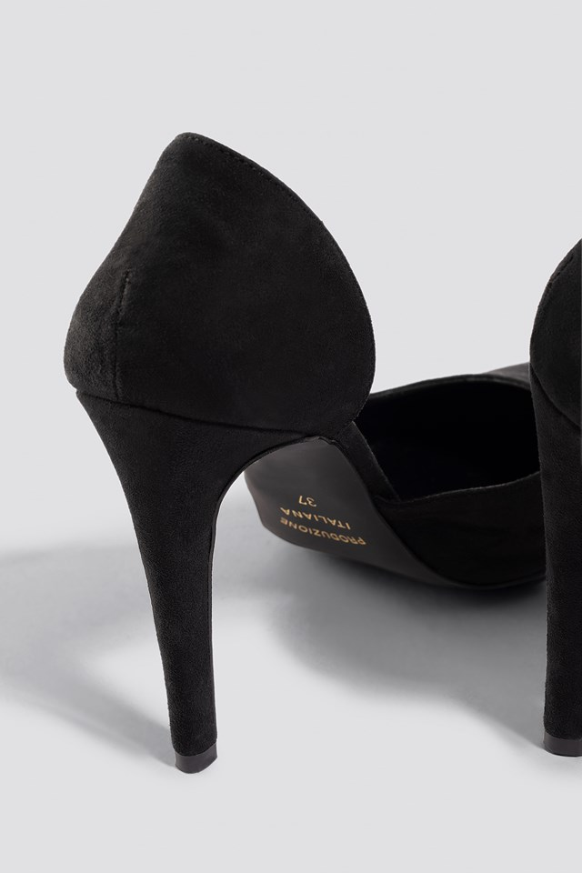 Pointy Faux Suede Pumps Black