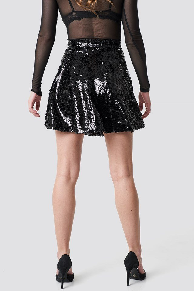 A-Lined Sequin Skirt Black