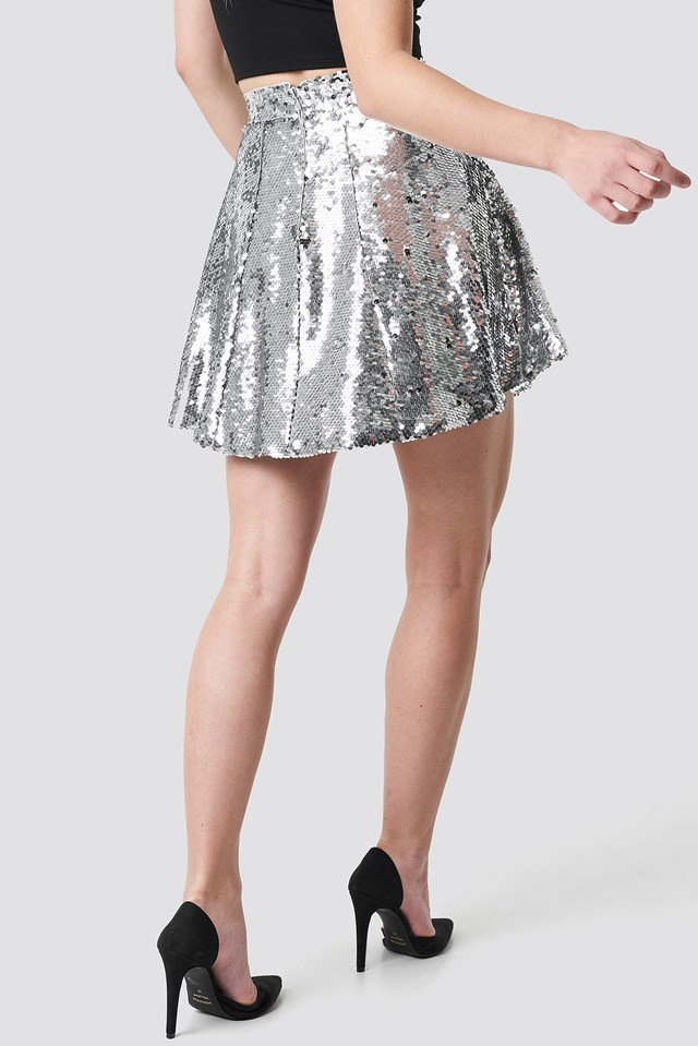 A-Lined Sequin Skirt Silver