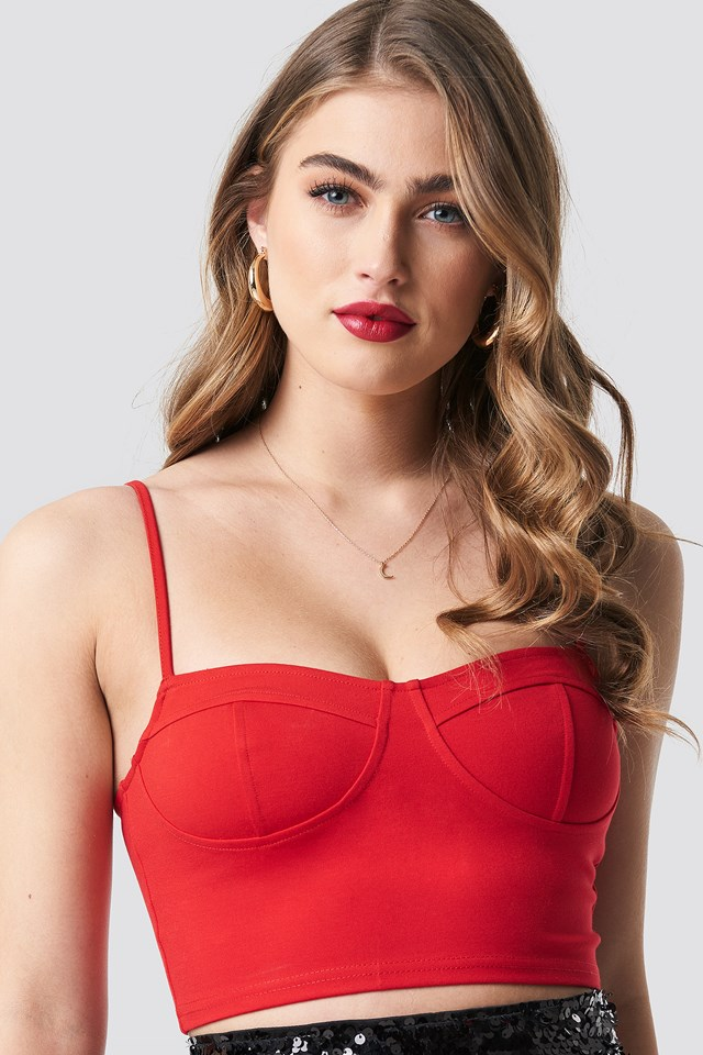 Tight Cropped Cup Singlet Red