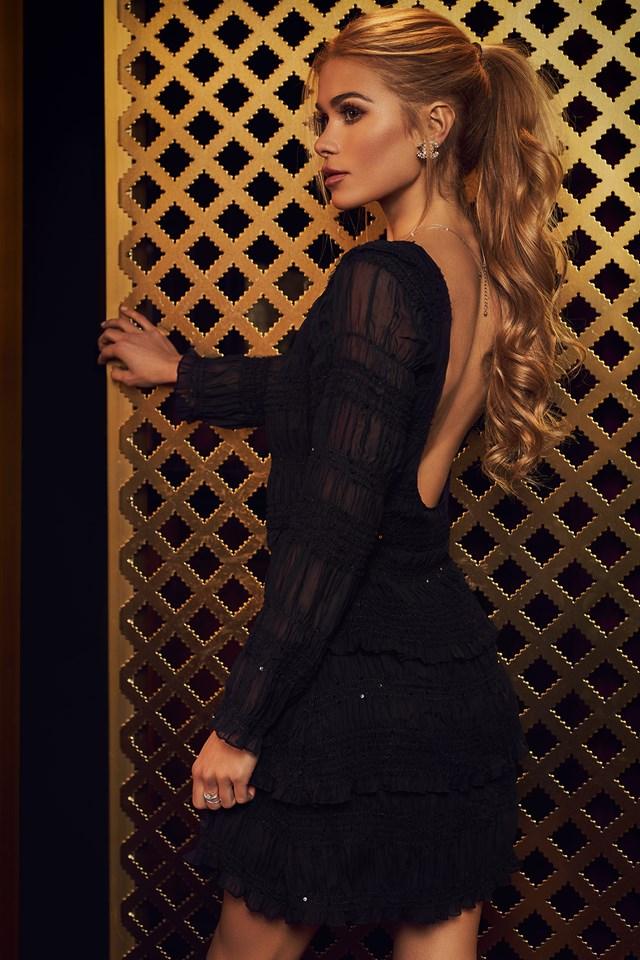 Deep Back Smock Detail Dress Black