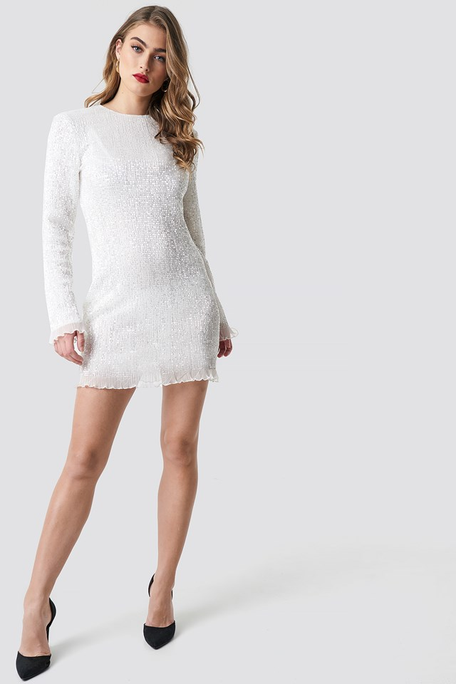 LS Sequin Transparence Dress Silver