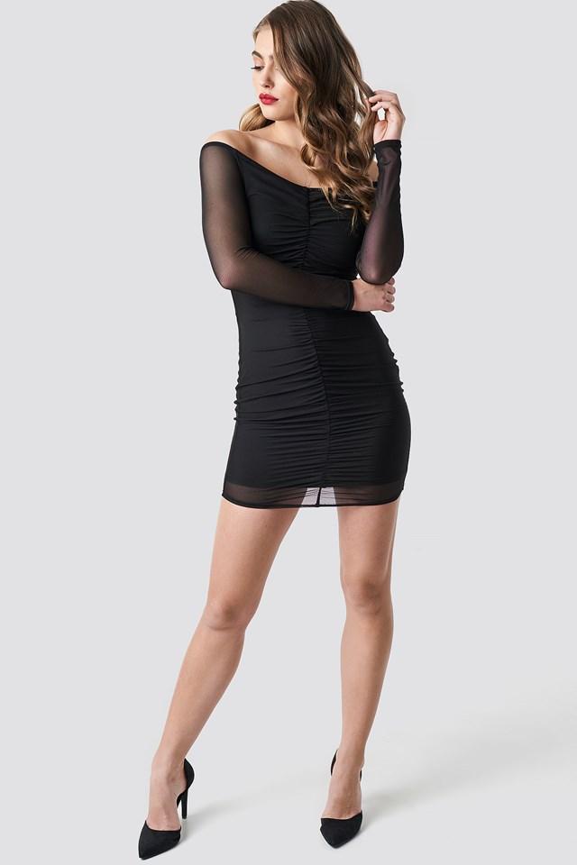 Off Shoulder Ruched Mesh Dress NA-KD.COM