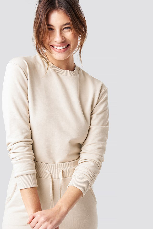 Round Neck Soft Sweatshirt Beige
