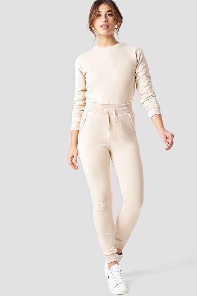 Round Neck Soft Sweatshirt Beige
