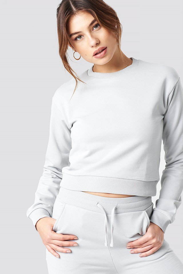 Round Neck Soft Sweatshirt Grey