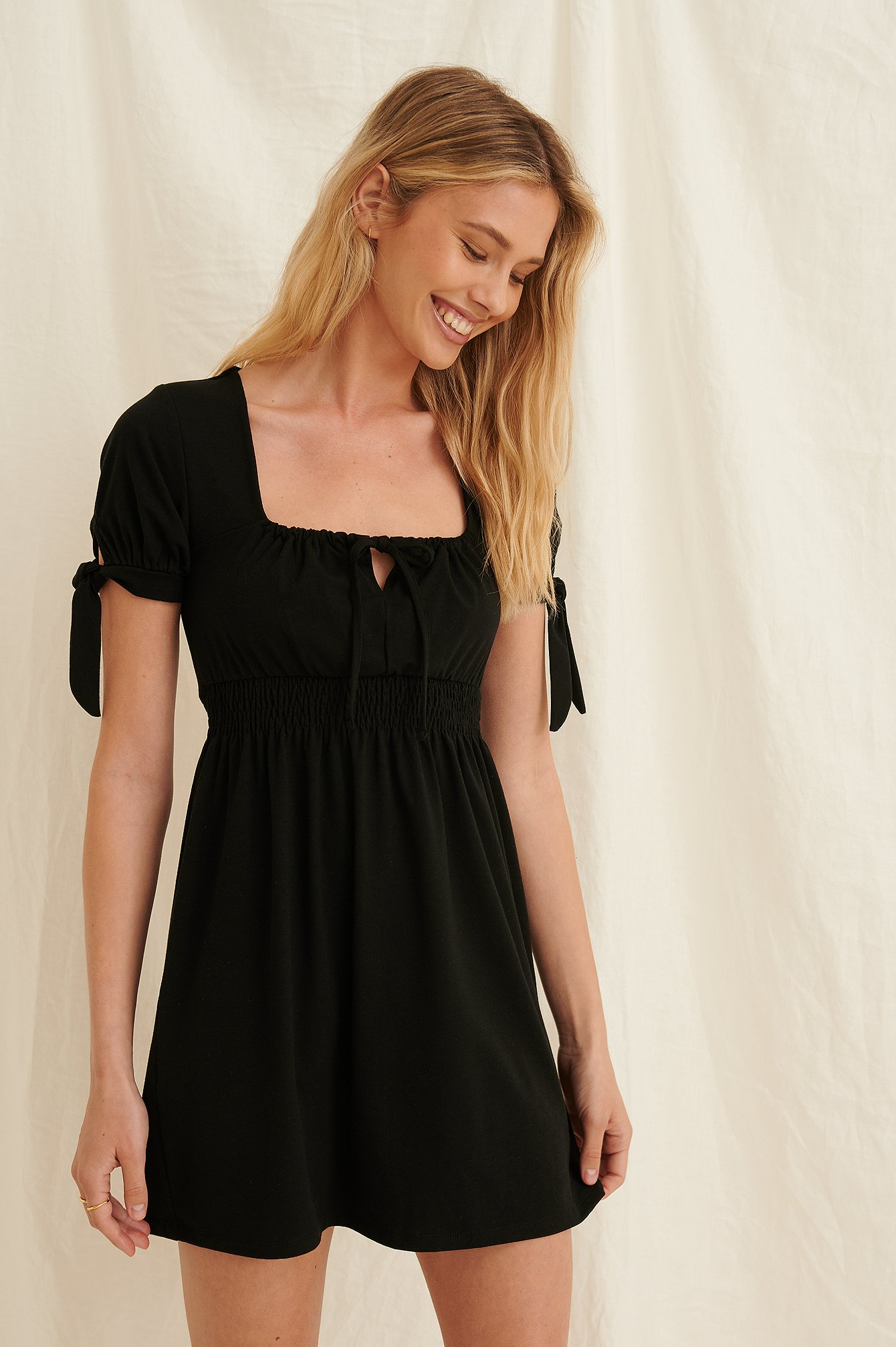 Black Ruched Detail Recycled Mini Dress
