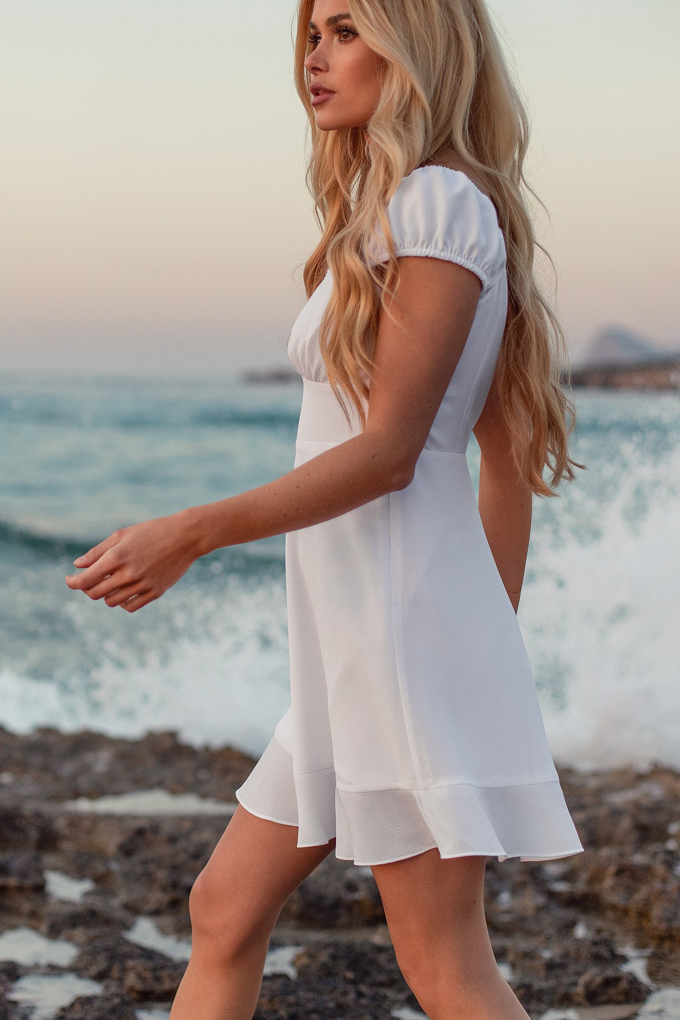 White Recycled Ruched Sleeve Mini Dress