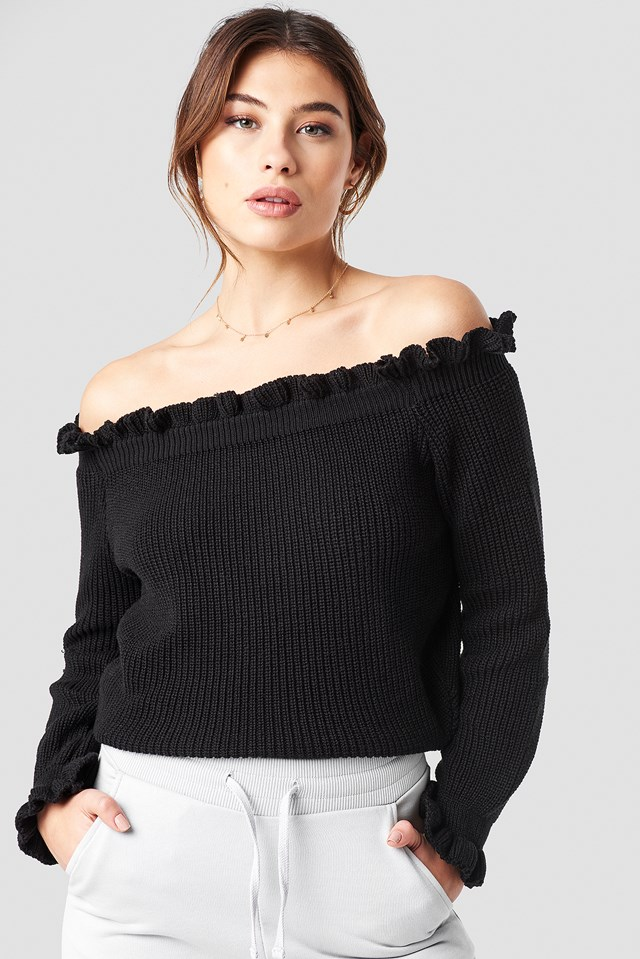 Ruffle Off Shoulder Knitted Sweater Black