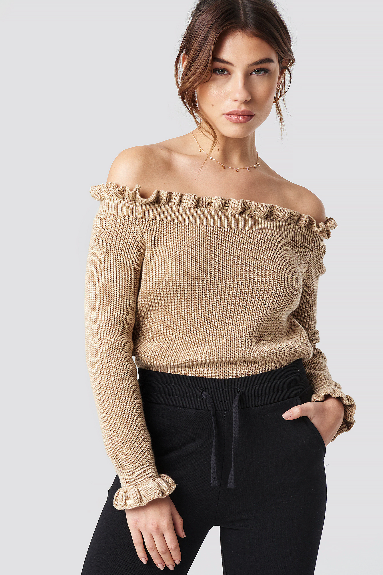 Ruffle Off Shoulder Knitted Sweater NA-KD.COM