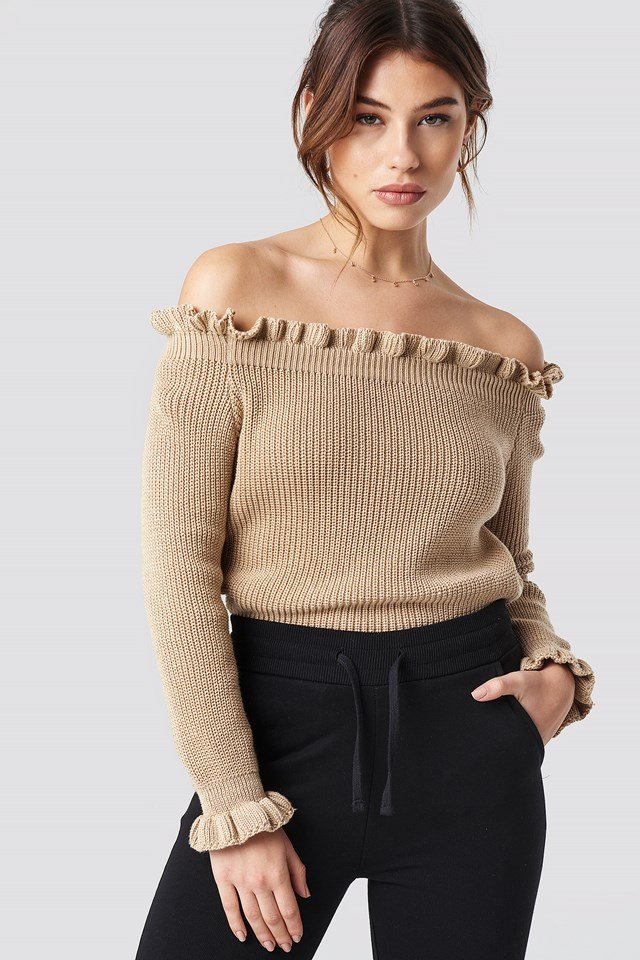 Ruffle Off Shoulder Knitted Sweater Pamela x NA-KD