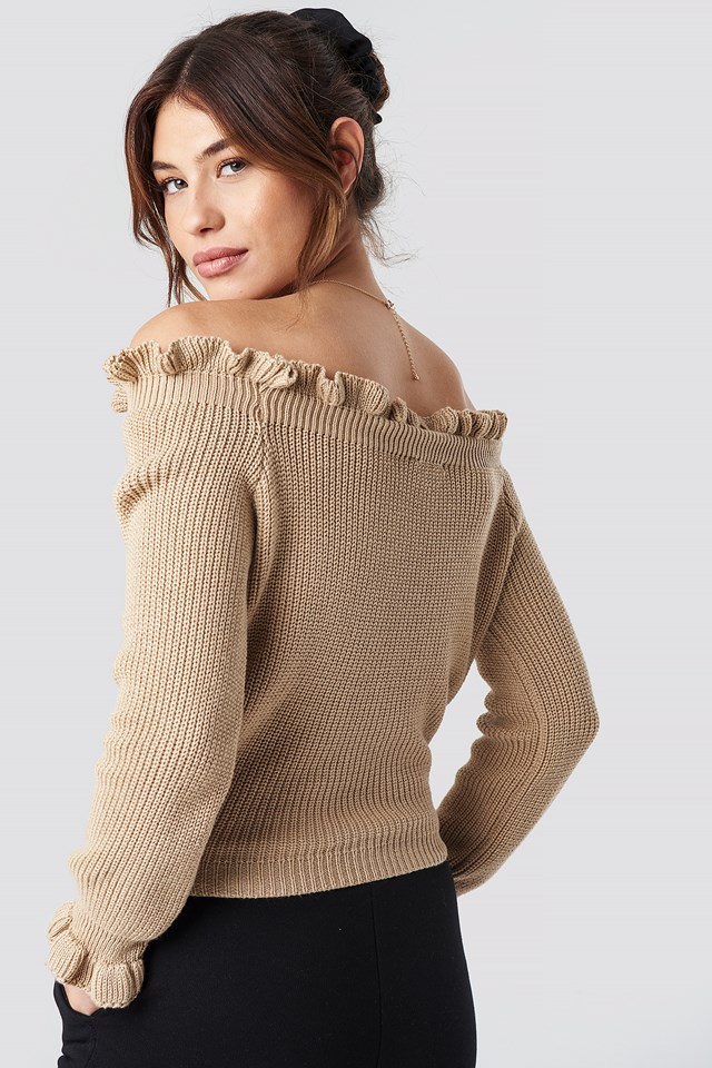 Ruffle Off Shoulder Knitted Sweater Beige