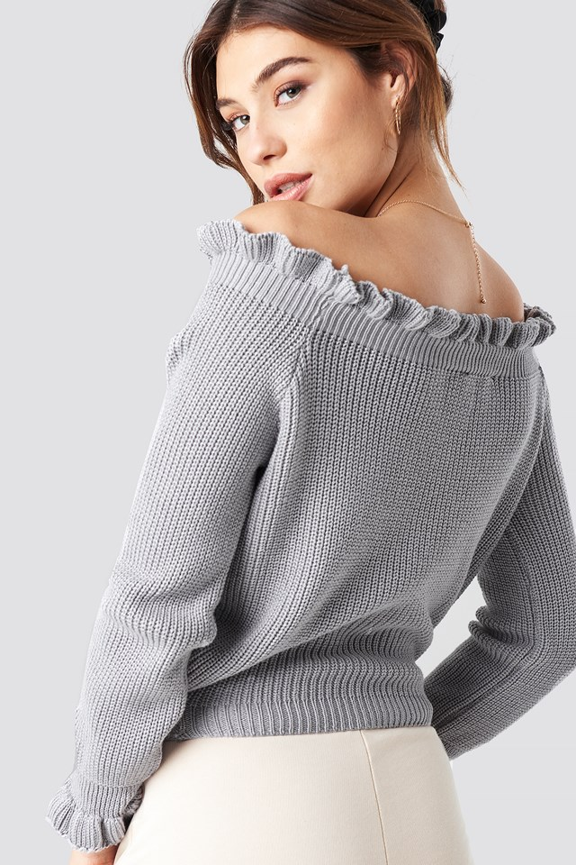 Ruffle Off Shoulder Knitted Sweater Grey