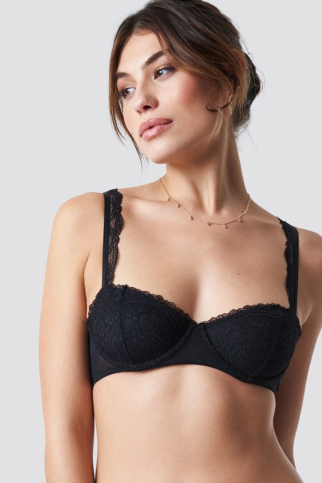 Scallop Lace Cup Bra Black