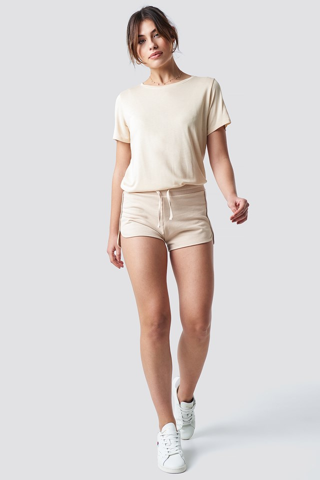 Soft Sweater Shorts Beige