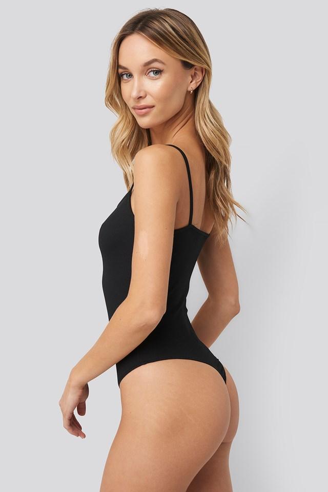 Thin Strap Bodysuit Black