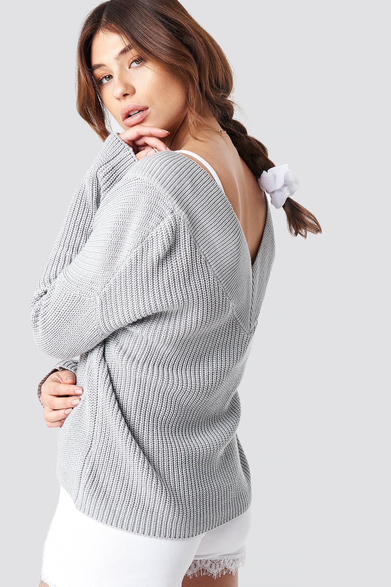 V-Neck Knitted Sweater NA-KD.COM