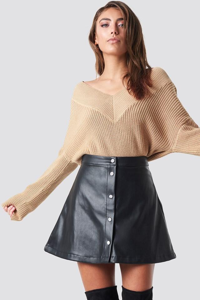 V-Neck Knitted Sweater NA-KD.COM