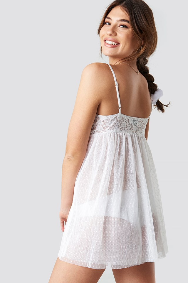 Lace Detailed Romantic Night Dress White