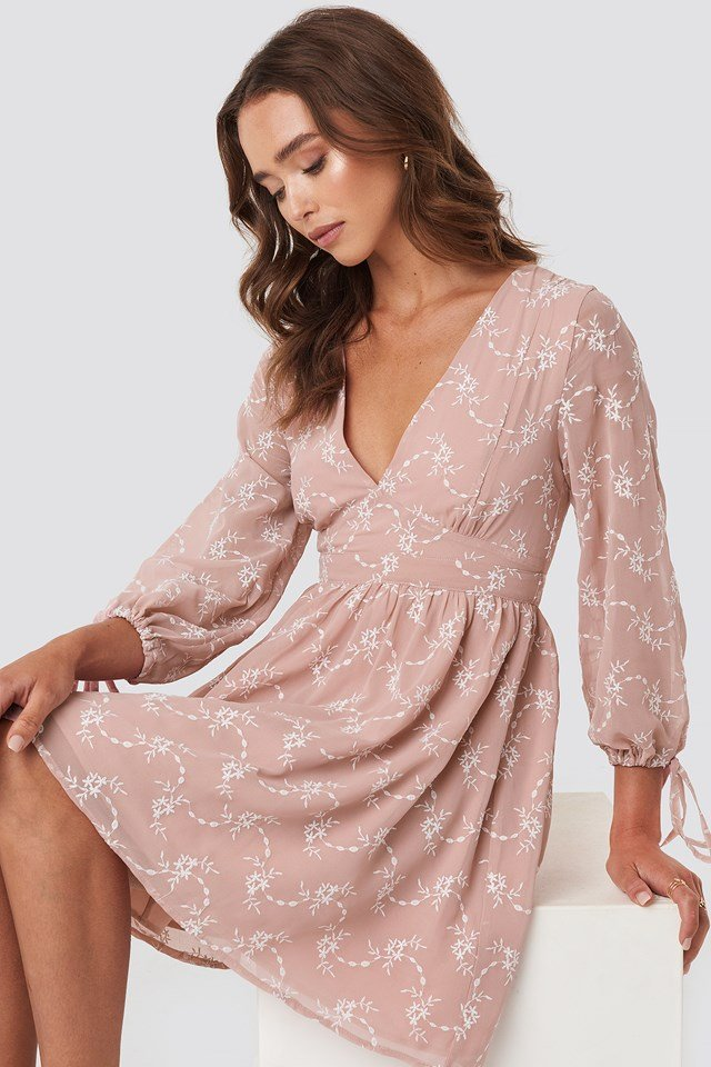 Embroidery Dress Pink