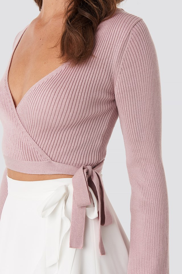 Ribbed Wrap Top Pink
