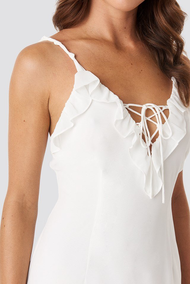 Tie Detail Frilled Dress White