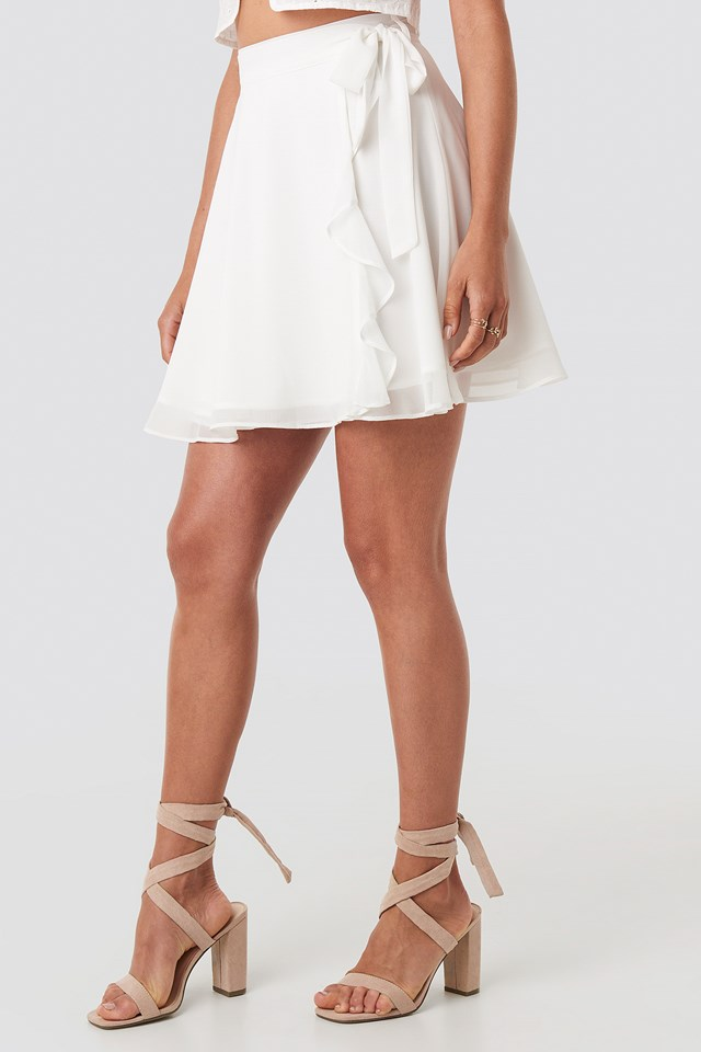 Tied Mini Skirt White