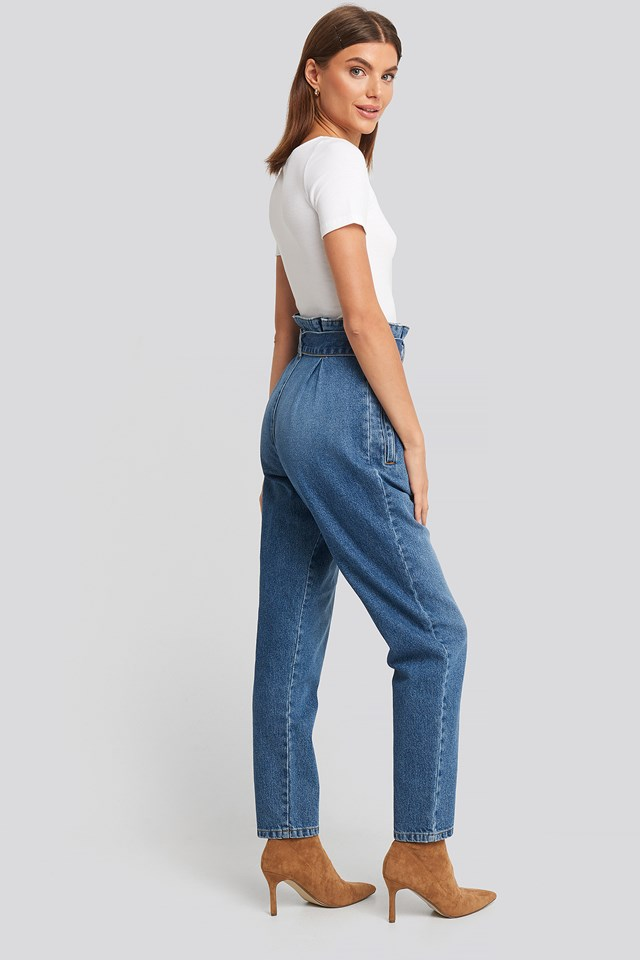 Paperbag Waist Jeans Mid Blue