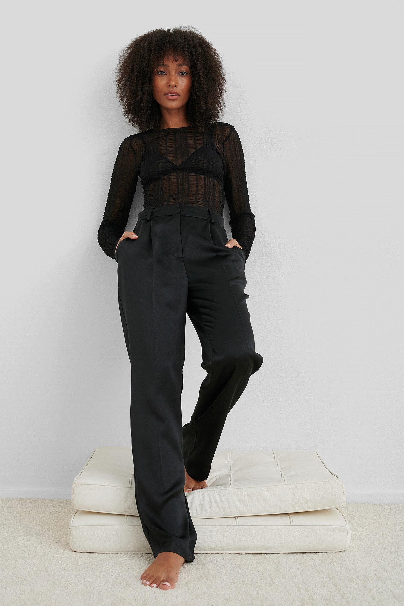 Black Mesh Crinkle Top