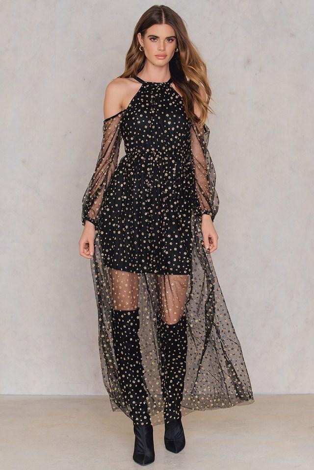 Sequin Maxi Dress Black