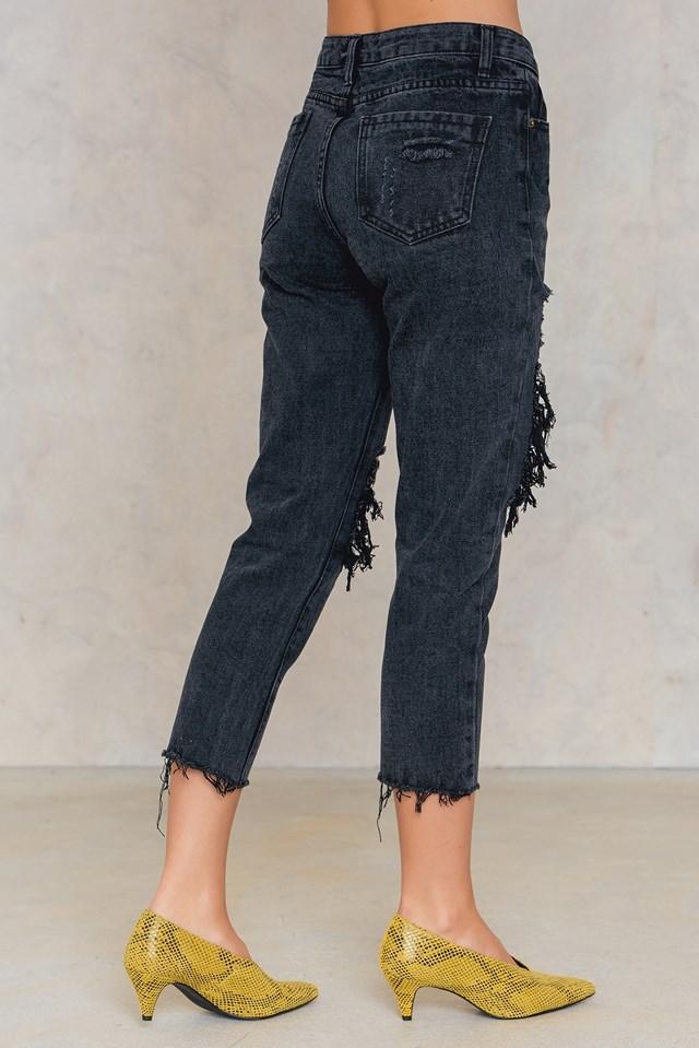 Distressed Jeans Black Denim