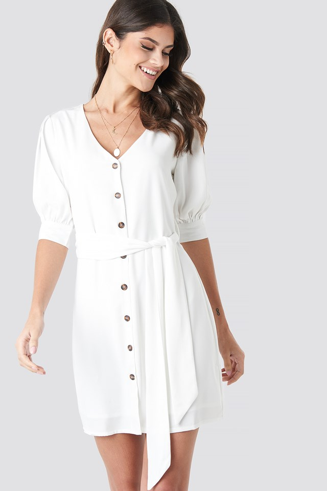 Button Down Balloon Sleeve Dress White