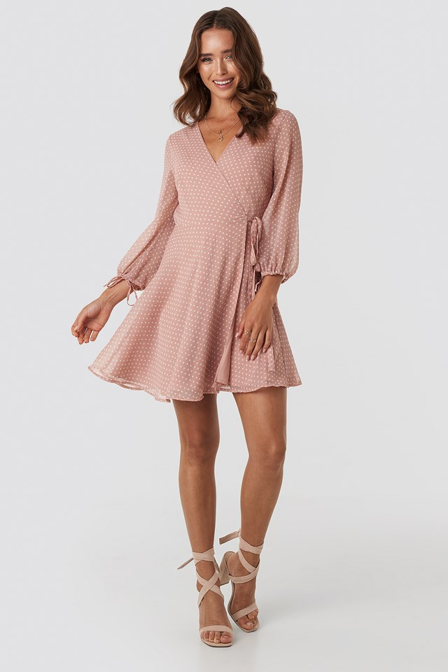 Dotted Wrap Mini Dress Pink