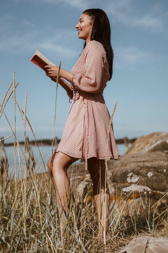 Dotted Wrap Mini Dress Pink