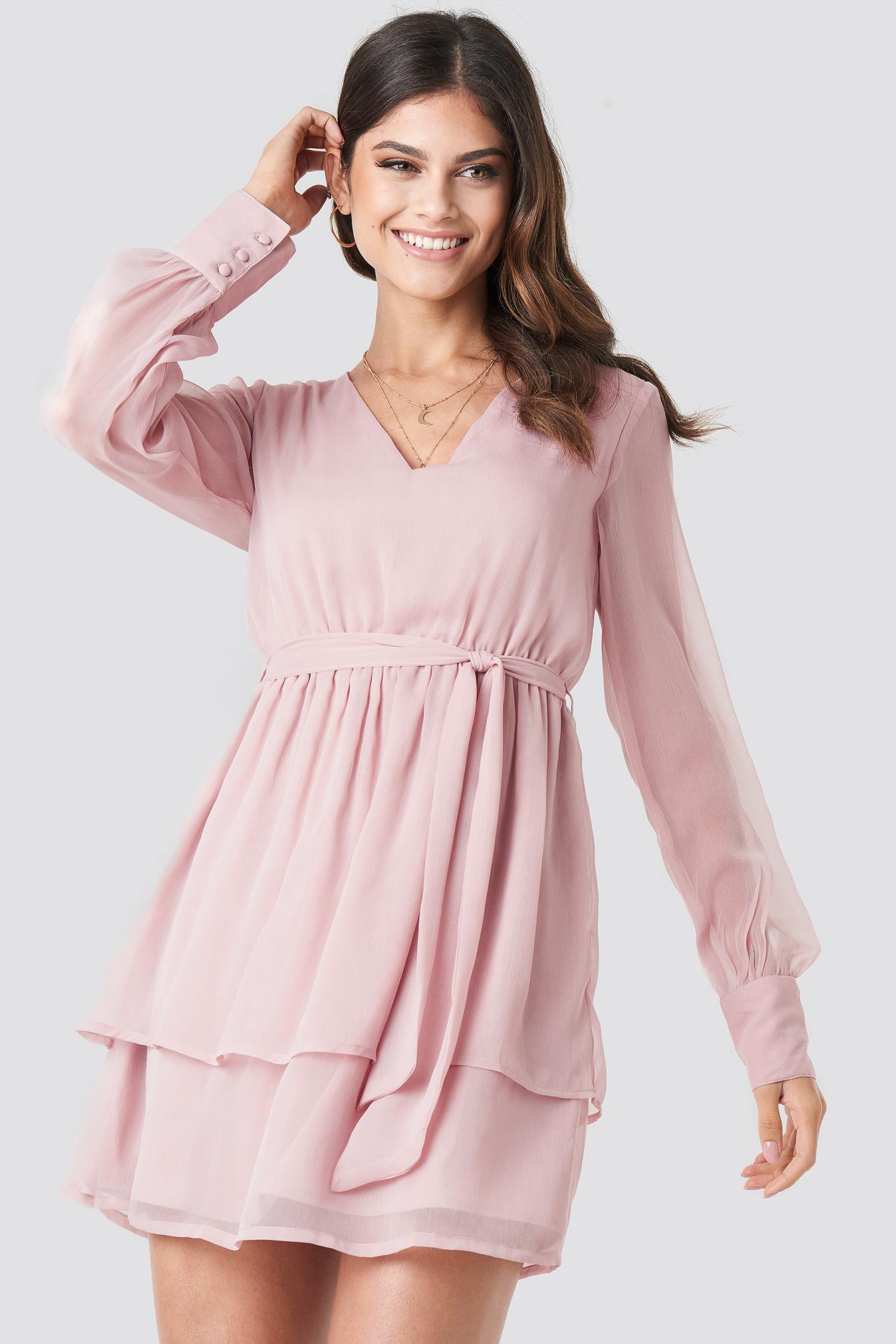 paola maria x na-kd -  Double Layered Mini Dress - Pink