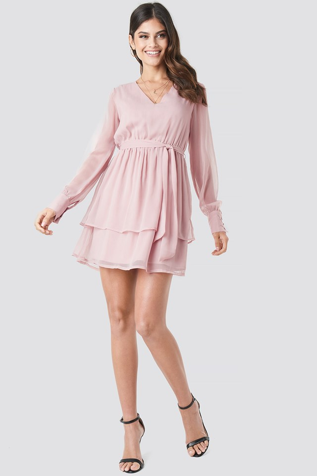 Double Layered Mini Dress Mauve