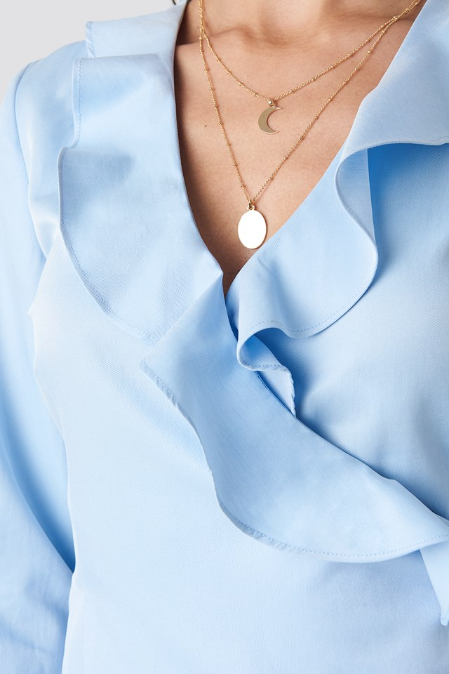 Frilled Neck Wrap Blouse Light Blue