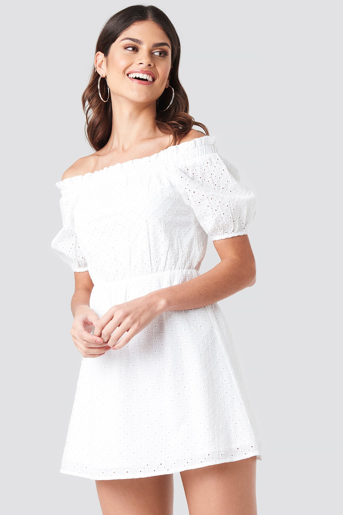 donnaromina x na-kd -  Off Shoulder Puffy Sleeve Dress - White